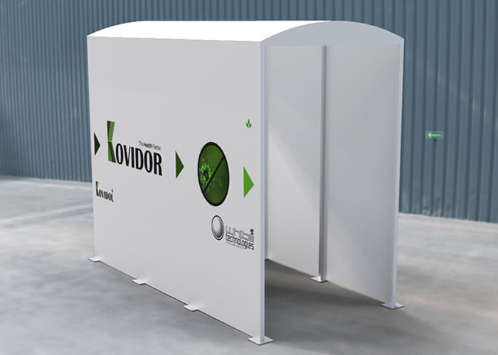 Kovidor S – smaller white - model inside the hall